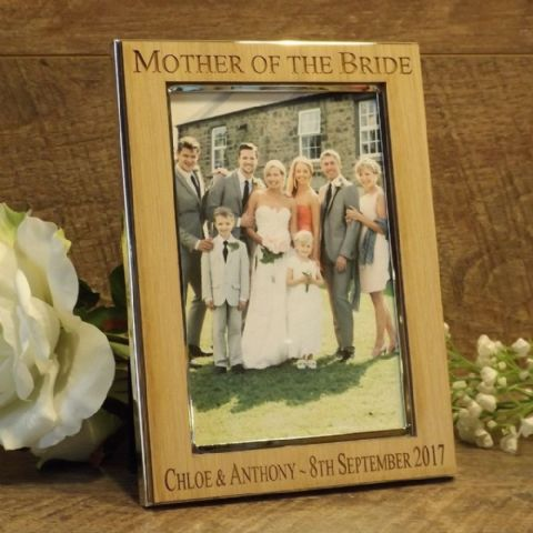 Personalised Mother Father of the Bride Photo Frame Oak Wood Veneer